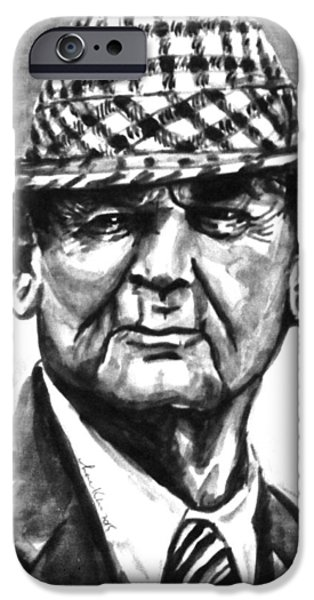 Bryant Drawings iPhone Cases - Bear Bryant BW watercolor  iPhone Case by Hae Kim