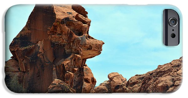 Red Rock Tapestries - Textiles iPhone Cases - Bear Face Rock iPhone Case by Edna Weber