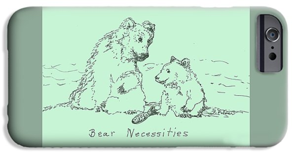 Animal Drawings iPhone Cases - Bear Necessities iPhone Case by Denise Fulmer