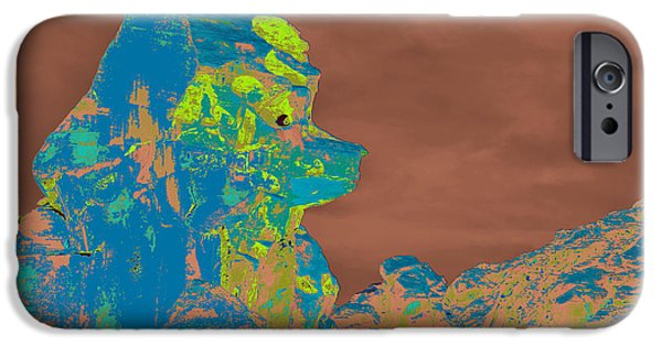 Red Rock Tapestries - Textiles iPhone Cases - Bear Rock Profile iPhone Case by Edna Weber