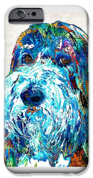 Working Dogs iPhone Cases - Bearded Collie Art 2 - Dog Portrait by Sharon Cummings iPhone Case by Sharon Cummings