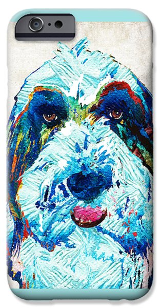 Working Dogs iPhone Cases - Bearded Collie Art - Dog Portrait by Sharon Cummings iPhone Case by Sharon Cummings