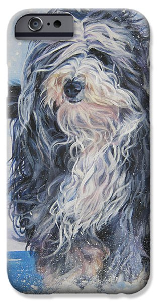 Bearded Collie in Snow iPhone Case by L A Shepard