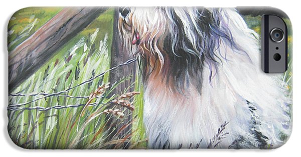 Beard iPhone Cases - Bearded Collie with Cardinal iPhone Case by L AShepard