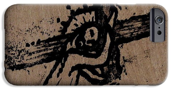 Jesus Drawings iPhone Cases - Bearing Our Burden iPhone Case by Jonathan Edward Shaw
