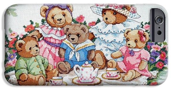 Tea Party iPhone Cases - Bears Summer Picnic iPhone Case by Sharon Horn