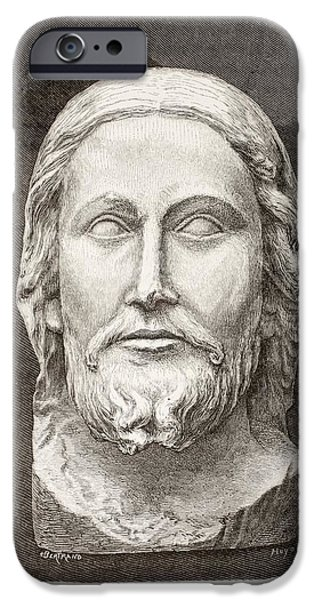 Jesus Drawings iPhone Cases - Beau-dieu D Amiens. The Beautiful God iPhone Case by Ken Welsh