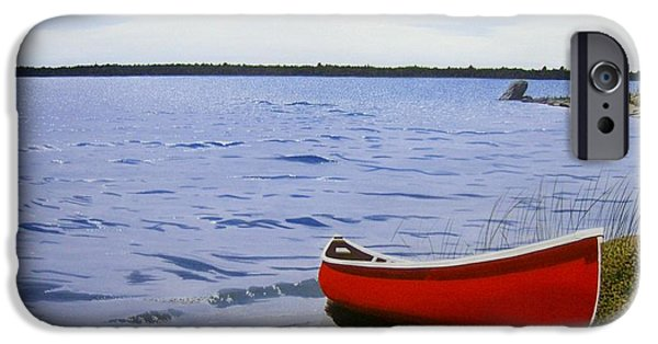 Red Canoe iPhone Cases - Beaultiful Red Canoe iPhone Case by Kenneth M  Kirsch