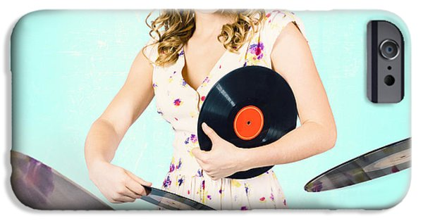 Disc iPhone Cases - Beautiful 70s DJ pinup girl with record music disc iPhone Case by Ryan Jorgensen