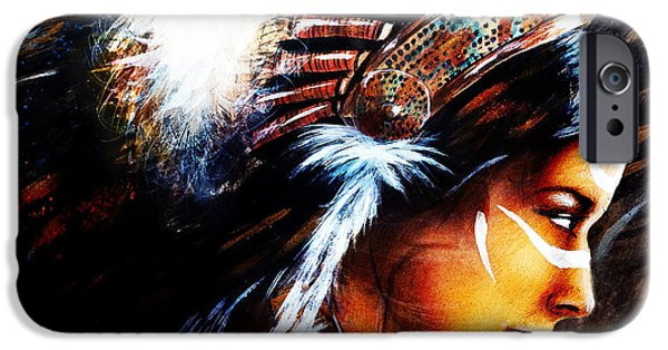Native American Spirit Portrait iPhone Cases - Beautiful Airbrush Painting Of A Young Indian Woman Wearing  iPhone Case by Jozef Klopacka