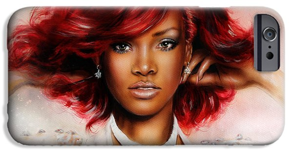 Rihanna Paintings iPhone Cases - beautiful airbrush portrait of RihanA beautiful airbrush portrait of Rihanna with red hair and a fac iPhone Case by Jozef Klopacka