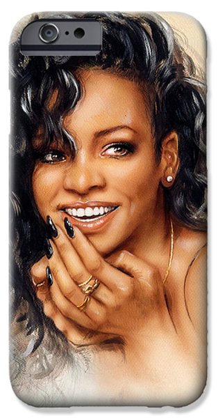 Rihanna Paintings iPhone Cases - beautiful airbrush portrait of Rihanna with red hair and a face close up with her hand touching her iPhone Case by Jozef Klopacka