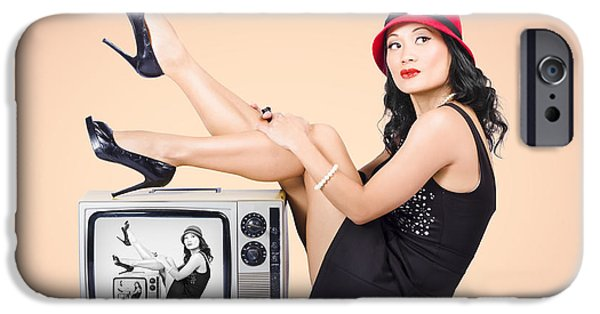 Self Awareness iPhone Cases - Beautiful asian pin up girl posing on retro tv set iPhone Case by Ryan Jorgensen
