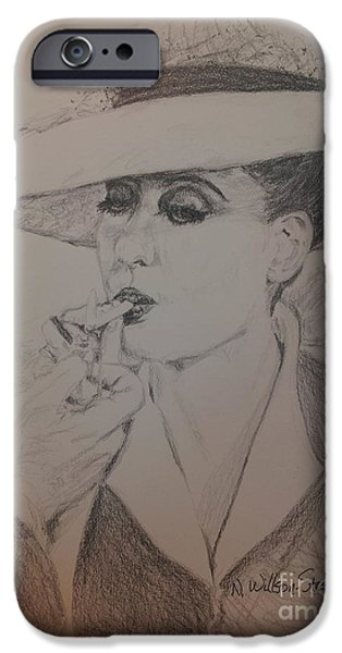 Charlotte Drawings iPhone Cases - Beautiful Bette iPhone Case by N Willson-Strader