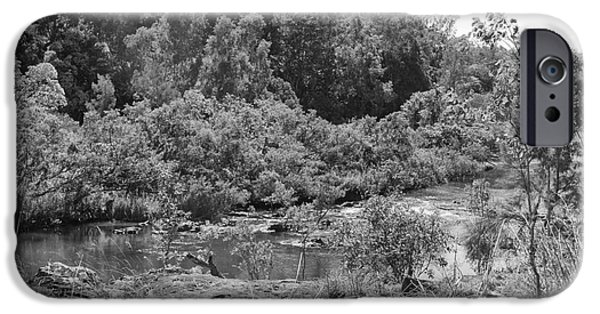 Raining iPhone Cases - Beautiful black and white of the Barron River iPhone Case by Wendy Townrow
