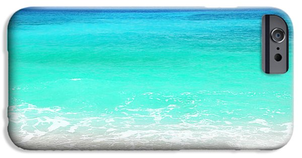 Beach Landscape iPhone Cases - Beautiful blue sea beach iPhone Case by Anna Omelchenko