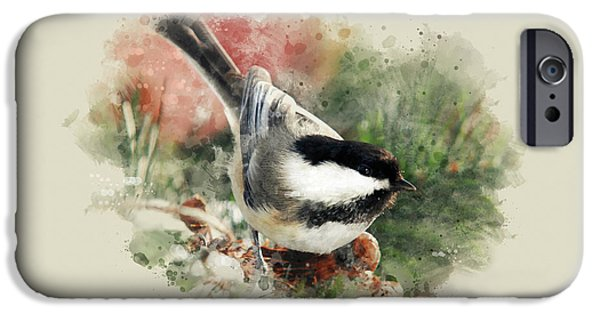Christmas Greeting iPhone Cases - Beautiful Chickadee - Watercolor Art iPhone Case by Christina Rollo