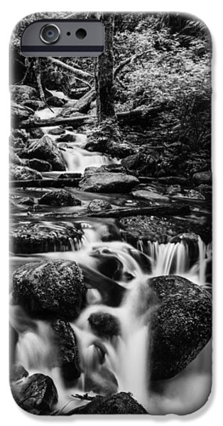 River iPhone Cases - Beautiful creek in Columbia River Gorge in black and white  iPhone Case by Vishwanath Bhat
