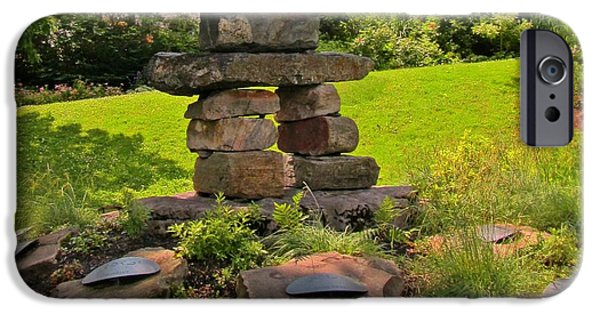 Buildings Sculptures iPhone Cases - Beautiful Garden with Inukshuk iPhone Case by John Malone