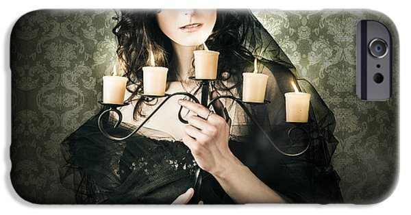 Haunted House iPhone Cases - Beautiful Grunge Woman In Dark Vogue Fashion Style iPhone Case by Ryan Jorgensen
