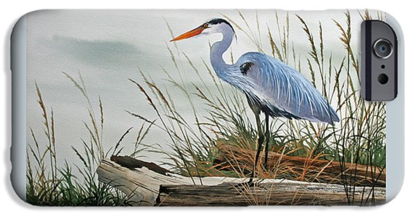 Framed iPhone Cases - Beautiful Heron Shore iPhone Case by James Williamson