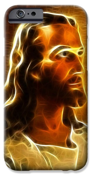 The Church Mixed Media iPhone Cases - Beautiful Jesus Portrait iPhone Case by Pamela Johnson