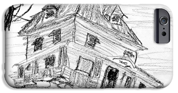 Diy Drawings iPhone Cases - Beautiful older home in need of TLC iPhone Case by R Kyllo
