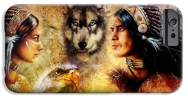 Native American Spirit Portrait iPhone Cases - Beautiful Painting Of An Young Indian Man And Woman  Accompanied iPhone Case by Jozef Klopacka