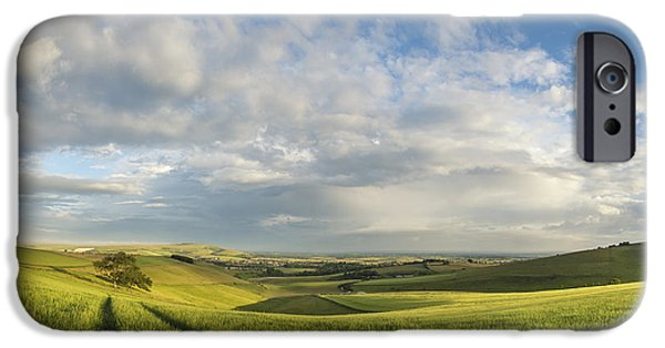 Agricultural iPhone Cases - Beautiful panorama landscape South Downs countryside in Summer iPhone Case by Matthew Gibson