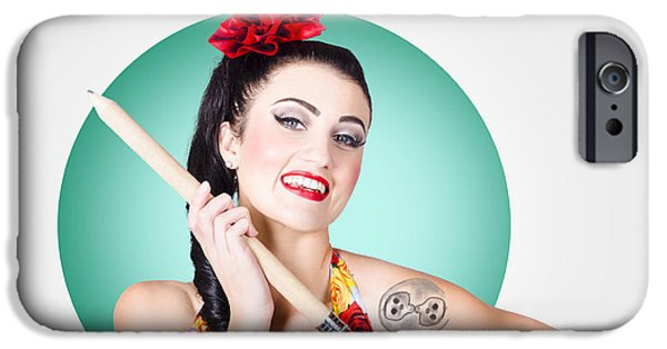 Diy iPhone Cases - Beautiful pin-up girl getting skull tattoo stencil iPhone Case by Ryan Jorgensen