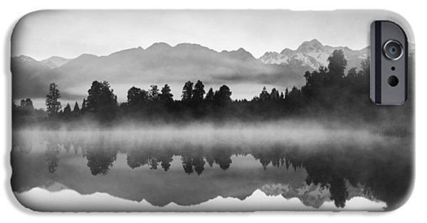 Fog Mist iPhone Cases - Beautiful reflections of Southern Alps at Lake Matheson iPhone Case by Tsvi Braverman