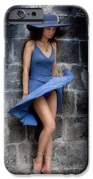 Beautiful Romantic Woman Standing Near a Stone Wall iPhone Case by Oleksiy Maksymenko