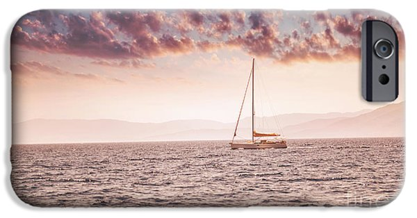 Sailboat Ocean iPhone Cases - Beautiful sunset over sea landscape iPhone Case by Anna Omelchenko