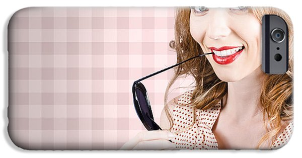 Model iPhone Cases - Beautiful woman holding sunglasses iPhone Case by Ryan Jorgensen