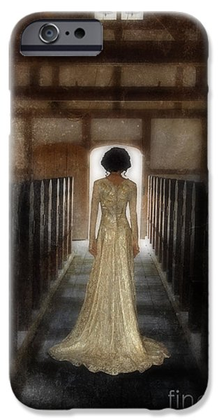 Wedding Bells iPhone Cases - Beautiful Woman in Lace Gown in an old Rural Chapel iPhone Case by Jill Battaglia
