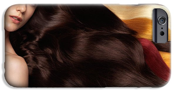 Mid Adult iPhone Cases - Beautiful Woman with Hair Extensions iPhone Case by Oleksiy Maksymenko