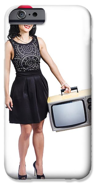 Cut-outs iPhone Cases - Beautiful woman with television iPhone Case by Ryan Jorgensen