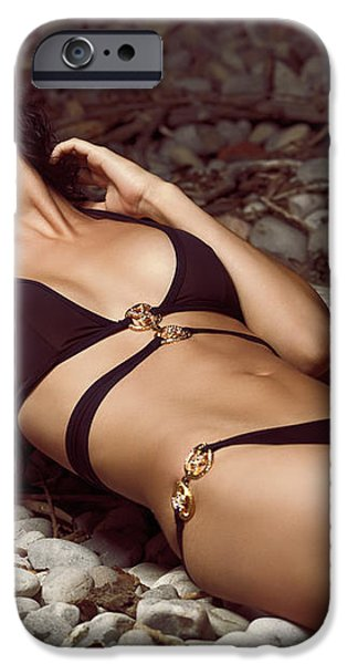 Beautiful Young Woman in Black Bikini on a Pebble Beach iPhone Case by Oleksiy Maksymenko