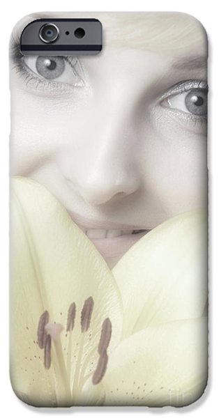 Beautiful Young Woman with a Yellow Lily iPhone Case by Oleksiy Maksymenko