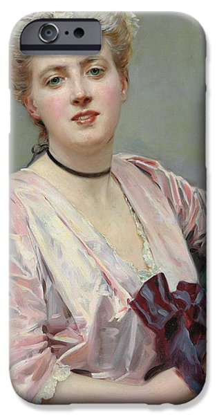 Girls In Pink iPhone Cases - Beauty in Pink iPhone Case by Raimundo de Madrazo y Garetta
