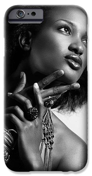 Big Hair iPhone Cases - Beauty portrait of african american woman wearing jewellery blac iPhone Case by Oleksiy Maksymenko