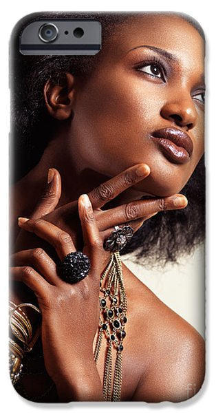 Big Hair iPhone Cases - Beauty portrait of african american woman wearing jewelry iPhone Case by Oleksiy Maksymenko