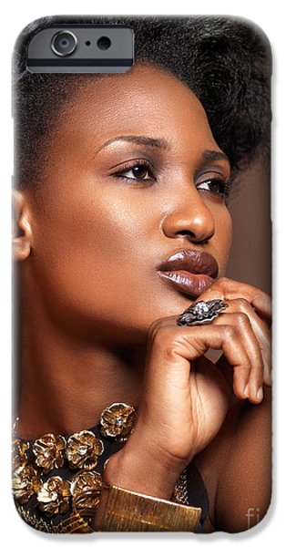 Big Hair iPhone Cases - Beauty portrait of black woman wearing jewelry iPhone Case by Oleksiy Maksymenko