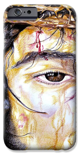 Jesus Drawings iPhone Cases - Because Of Love iPhone Case by Sheron Petrie