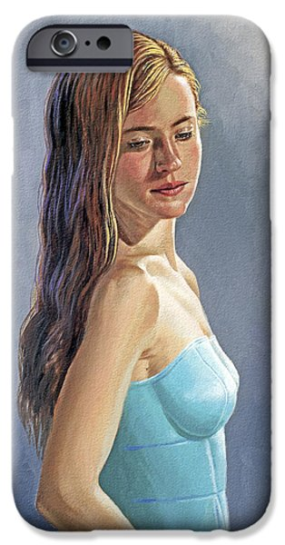 Figures Paintings iPhone Cases - Becca-Different Hairdo iPhone Case by Paul Krapf