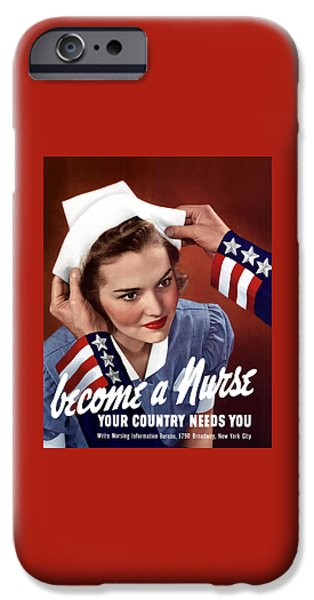States Mixed Media iPhone Cases - Become A Nurse -- WW2 Poster iPhone Case by War Is Hell Store