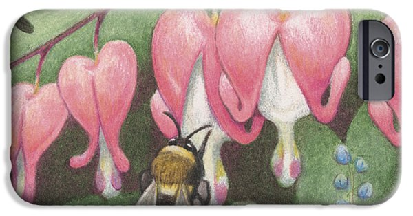 Bleeding Hearts iPhone Cases - Bee And Bleeding Heart iPhone Case by Amy S Turner