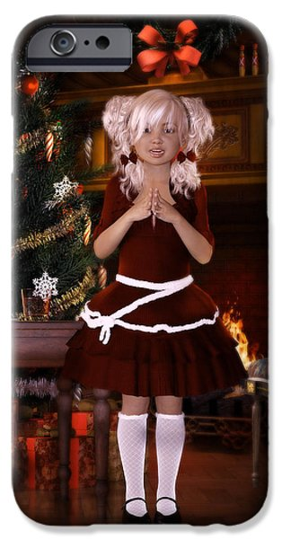 Little Girl Digital Art iPhone Cases - Been good Santa iPhone Case by Shanina Conway