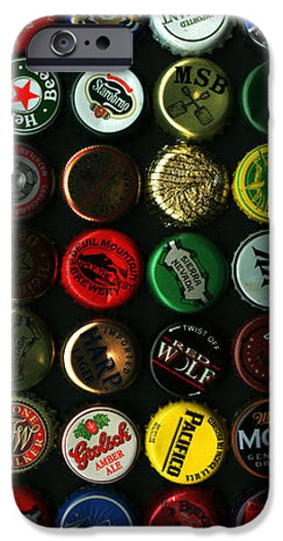 Beer Bottle Caps . 9 to 16 Proportion iPhone Case by Wingsdomain Art and Photography