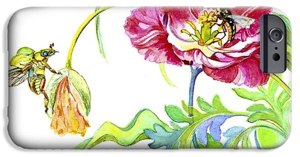 Flora iPhone Cases - Beetle Poppy and Tulip iPhone Case by Kimberly McSparran